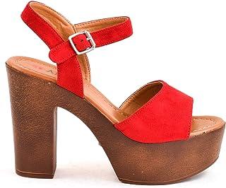 16bffca0 Zapatos Sandalias tacón y Plataforma Madera con Tira Ancha Ante Antelina