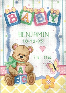 Dimensions Counted Cross Stitch Kit, Baby Blocks and Teddy Bear Birth Record Personalized Baby Gift, 14 Count White Aida, 5