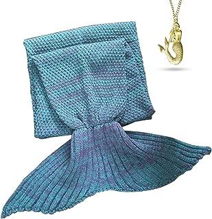 AOOK Homemade X-Large Mermaid Tail Blanket Crochet, Warm Sofa Quilt Super Soft All Seasons Sleeping Blankets,Handmade Mermaid Tail Blanket for Adults,77''x38'' 195cmX95cm (Lake Blue)