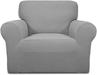 Best Easy-Going Stretch Chair Sofa Slipcover 1-Piece Couch Sofa Cover Furniture Protector Soft with Elastic Bottom for Kids,Pet. Spandex Jacquard Fabric Small Checks(Chair,Light Gray) Review