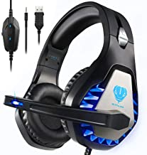 BUTFULAKE GH-1 Gaming Headset for PS4, Xbox One, Xbox One S, PC, Nintendo Switch, Mac, Laptop, Computer, 3.5mm Wired Pro Stereo Over Ear Gaming Headphones with Noise Cancelling Mic &LED Light, Blue