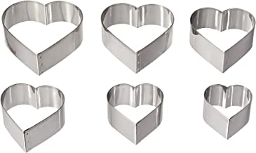 August Thomsen Corp 7804 Ateco Graduated Heart Cookie Cutters, Set of 6, Plain Edge