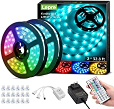 Lepro 65.6ft LED Strip Lights, Ultra-Long RGB 5050 LED Strips with Remote Controller and Fixing Clips, Color Changing Tape Light with 24V ETL Listed Adapter for Bedroom, Room, Kitchen, Bar(32.8FTX 2)