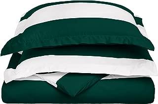 Cabana Stripe Kids Wrinkle Resistant Cotton Blend 600 Thread Count Twin 2-PieceDuvet Cover Set, Hunter Green
