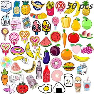 Backpack Pin Set 50 PCS Cartoon Cute Acrylic Plastic Fruit Brooch Pin for Christmas Gifts DIY Hard Aesthetic Lapel Pin for Clothing Bags Accessory Jewelry