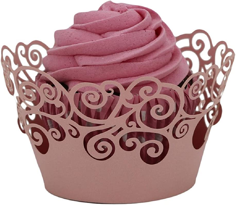 Malloom 50pc Hollow Out Wrapper Laser Cut Cupcake Wrapper Liner Baking Cup Mu