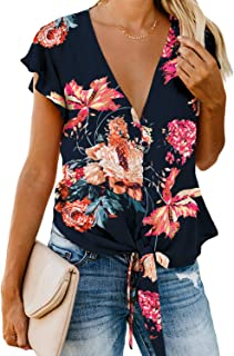 AlvaQ Women V Neck Floral Print Tops Short Sleeve Button Down Front Tie Summer Shirts and Blouses