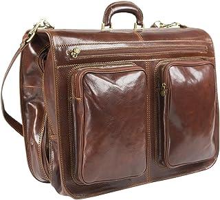 Rivello Genuine Leather Garment Bag - Detachable and Adjustable Shoulder Strap