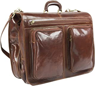 Rivello Genuine Leather Garment Bag - Detachable and Adjustable Shoulder Strap