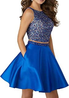 Sparkly Crstals 2 Piece Satin Prom Dresses Short Open Back Homecoming Cocktail Dresses P012