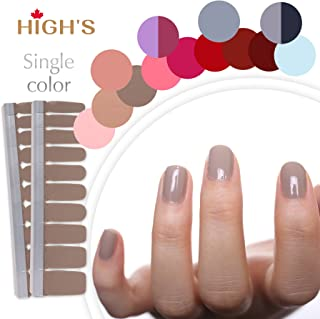 HIGH'S Upgrade EXTRE ADHESION Nail Wraps Decals Art Transfer Sticker Collection Manicure DIY Fullnail Polish patch Strips for Wedding, Party, Shopping, Travelling, 20pcs(Saddle Brown)