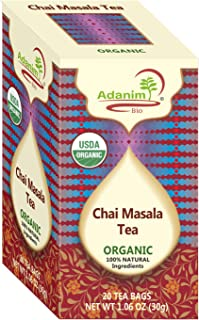 ADANIM MASALA CHAI TEA BAGS - Organic Indian Tea Style with Bombay Herbal Spice Blend of Ginger Cardamom Cinnamon & Clove (Pack of 4, 80 total) spiced with India chi mix