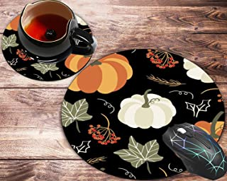 Round Mouse Pad and Coasters Set, Pumpkins and Maple Leaf at Scary Halloween Full Moon Night Mousepad, Non-Slip Rubber Rou...