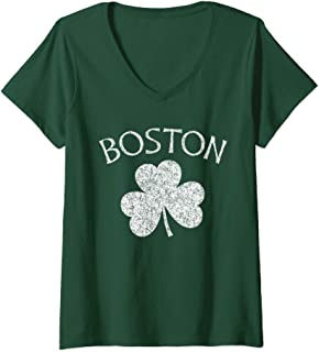 Womens Boston Irish Shamrock Distressed White Print V-Neck T-Shirt