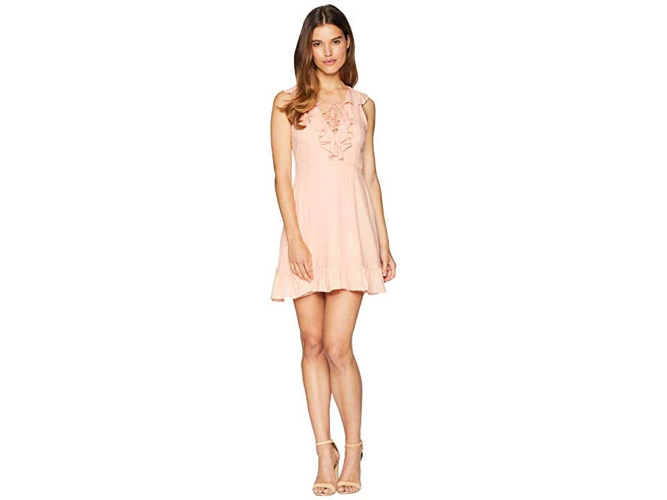 Jack by BB Dakota Helen Dobby Dress with Tassel Ties (Coral Pink) Women