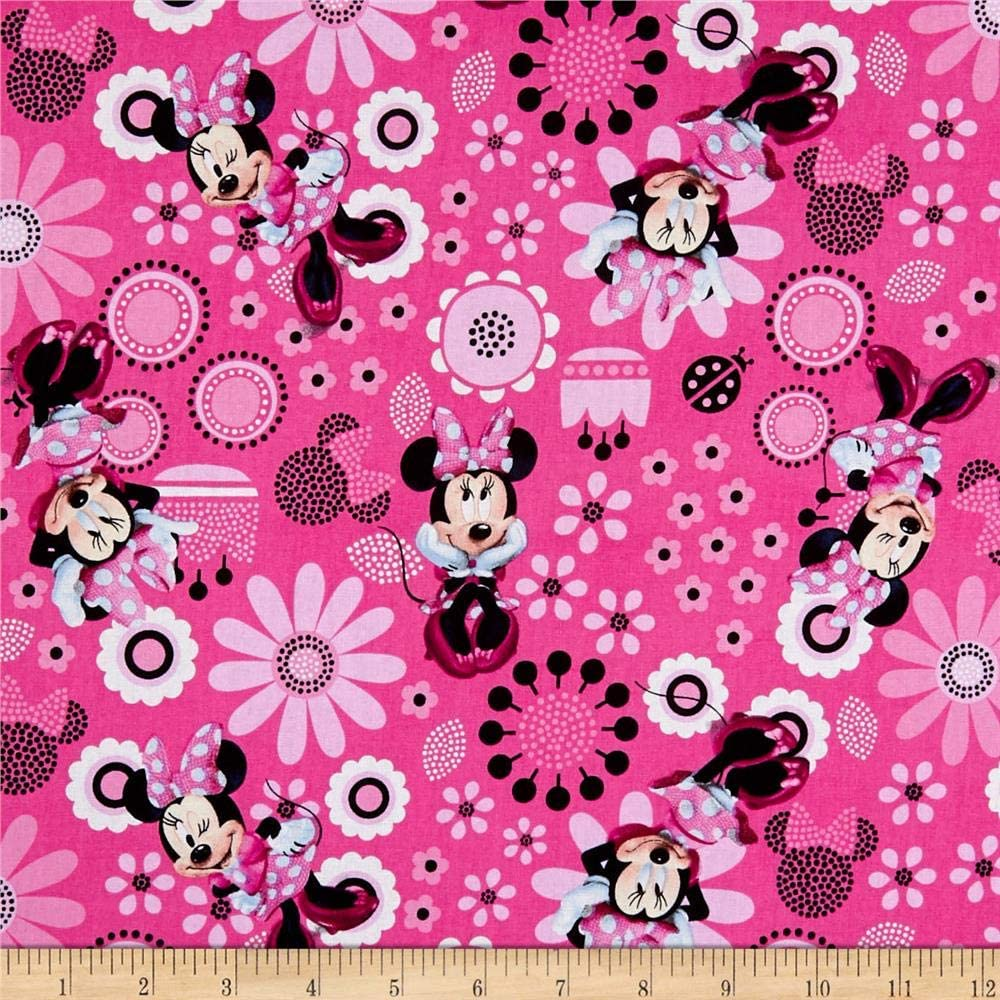 Disney Fabric Minnie Flower Fabric Light Pink Back Ground From Springs Creative
