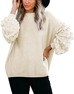 Women's Cute Oversized Crewneck Loose Puff Sleeves Chunky...