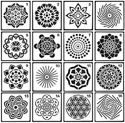 12 Pack Mandala Dot Painting Templates Stencils for DIY Painting Art Projects