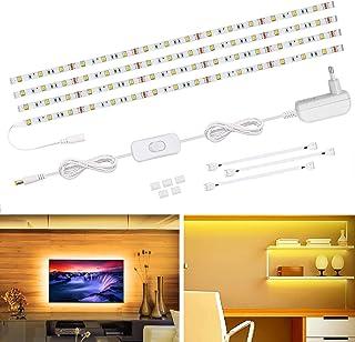 Lámpara LED de Voyomo, 4 x 50 cm, iluminación de armario para TV, retroiluminación 5050 SMD, 2700 K, blanco cálido, tira LED para armarios de cocina, vitrinas y televisores