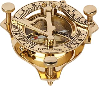 Aheli Vintage Handmade Sundial Compass in Solid Brass for Hiking, Camping, Boating and Backpacking - Nautical Navigational Device