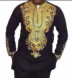 RDHOPE-Men Long Sleeve African Dashiki Floral Printed V Neck Tees