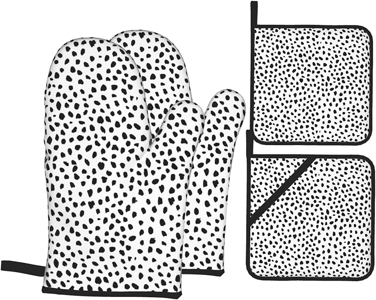 Genuine Free Shipping Black Dot New Shipping Free Oven Glove and Pot Set Waterproof Holder Polyester Fab