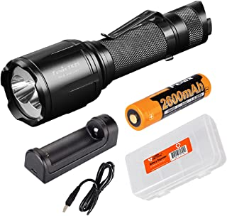 Image of Fenix TK25 Red Version 1000 Lumen Dual White and Red Output Tactical Hunting Flashlight Rechargeable Battery, are-X1 Battery Charger, and Lumen Tactical Battery Organizer