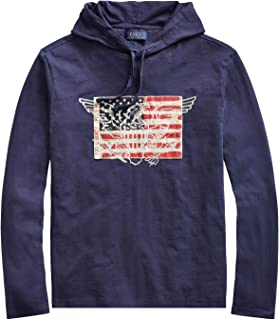 RALPH LAUREN Polo Men's Slub Cotton Jersey American Eagle Flag Long Sleeve Pullover Hooded T-Shirt (Dark Cobalt, Large)