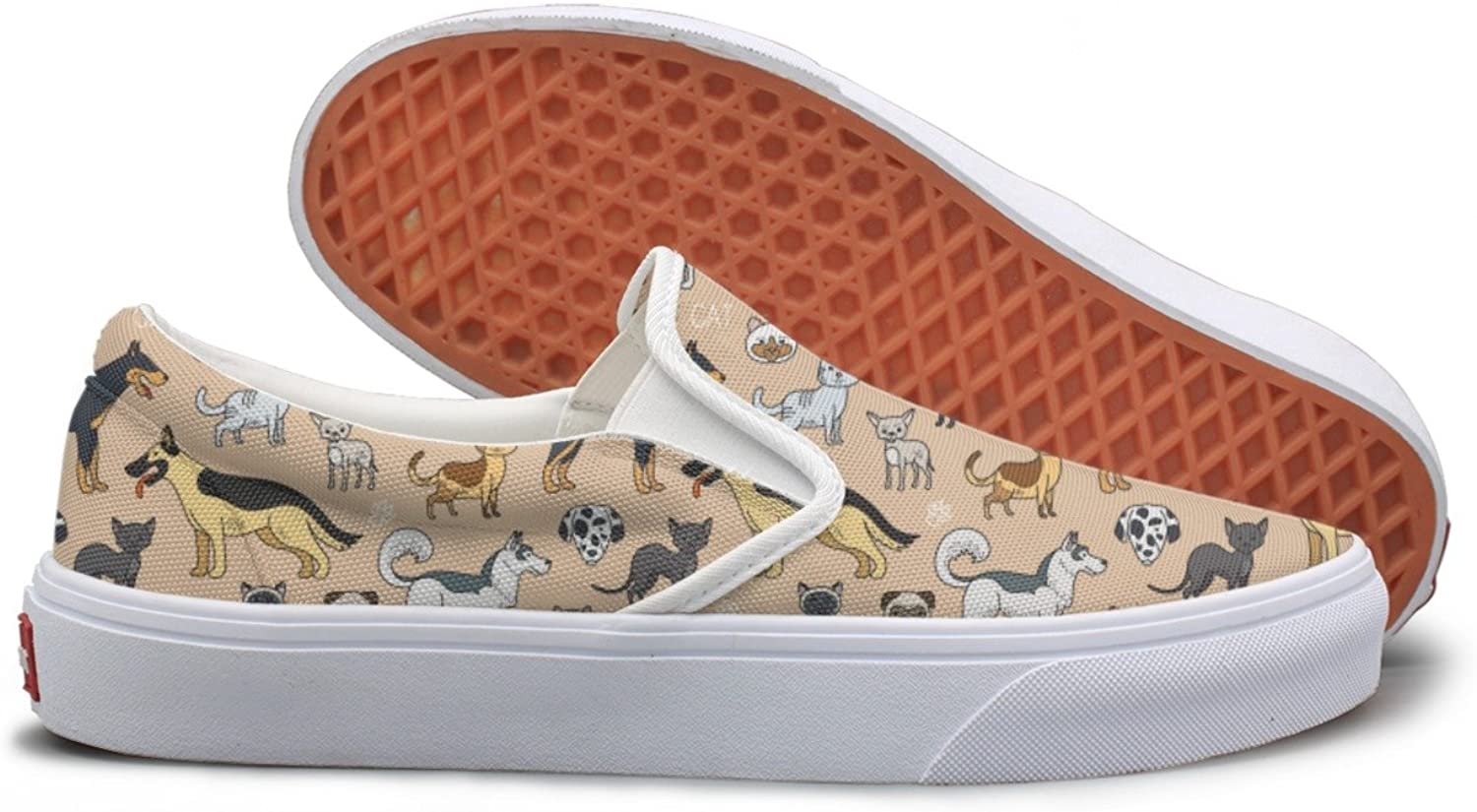 Cute Cats And Dogs Canvas Sneakers For Women