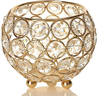 VINCIGANT Gold Crystal Bowl Tea Light Candle Holders for Wedding Coffee Office Table Decorative Centerpieces