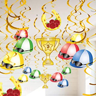90shine 30Ct Kentucky Derby Day Party Hanging Swirl Decorations - Horse Race Jockey Helmet Whirls Ceiling Supplies Decor