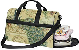 Travel Tote Luggage Weekender Duffle Bag, Hoffman Royal Peacocks Antique Large Canvas shoulder bag with Shoe Compartment
