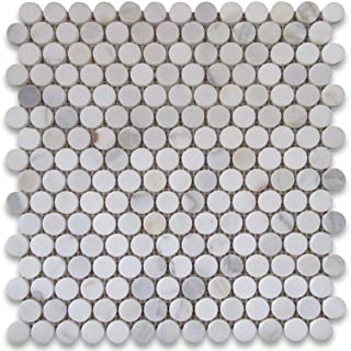 Calacatta Gold Italian Calcutta Marble Penny Round Mosaic Tile 3/4 inch Honed