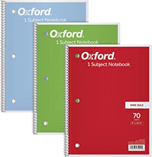 "TOPS/Oxford 1-Subject Notebooks, 8"" x 10-1/2"", Wide Rule, 70 Sheets, 3 Pack, Color Assortment May Vary (65029)"
