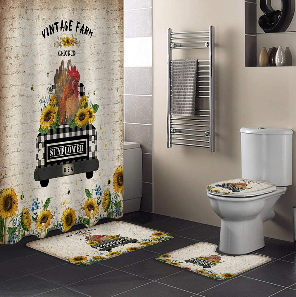 MUSEDAY 4 Piece Shower Curtain Sets Non-Slip L Max 87% Cheap bargain OFF Rugs Toilet with