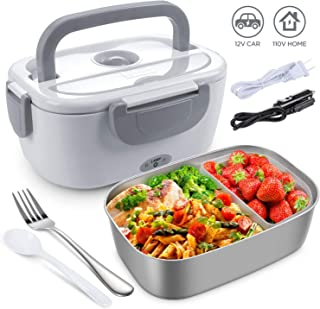 Electric Lunch Box for Car, Home, Office - 110V/12V 40W Portable Electric Food Warmer Heater Lunch Box With Food-Grade Stainless Steel Container, 1 Fork& 1 Spoon - Grey