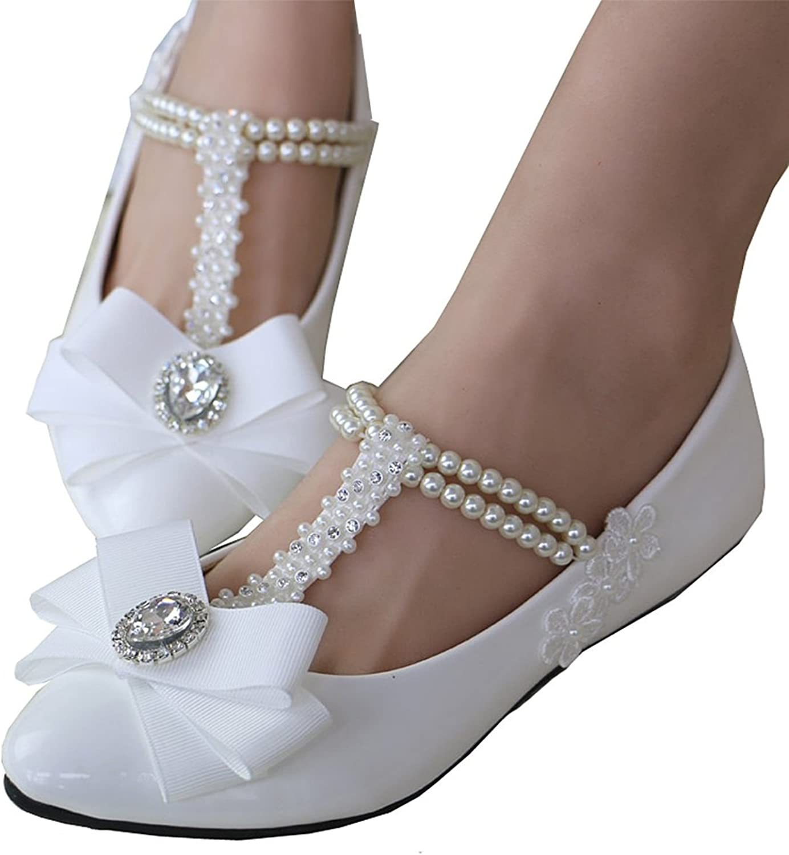 Pilusooou Elegant Women's Girls Mary Jane Flats Pearls Across Princess Beach Wedding shoes