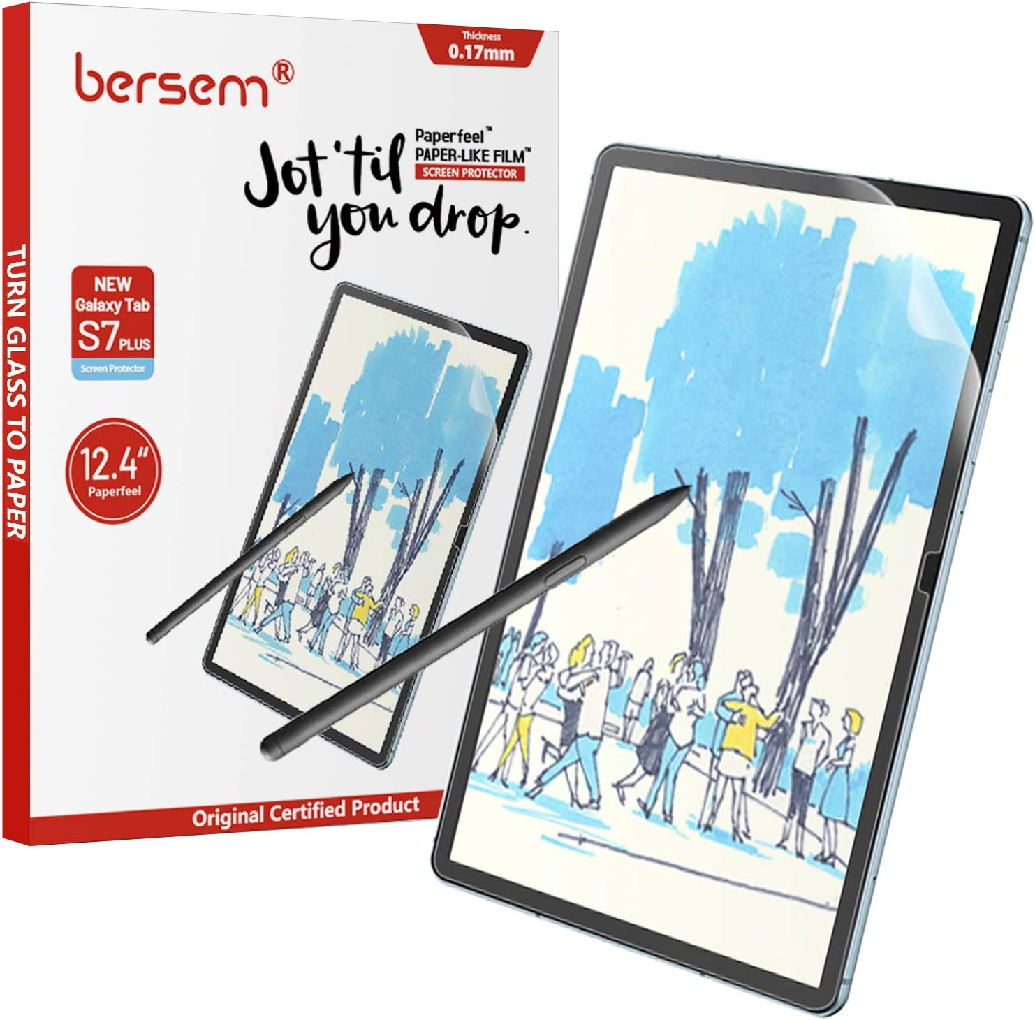 BERSEM[2 PACK]Paperfeel Screen Protector Compatible with Samsung Galaxy Tab S7 FE 2021 / Galaxy Tab S7 Plus 12.4 inch,Anti Glare with Easy Installation Kit Write and Draw Like on Paper