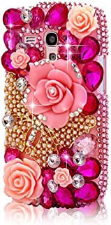 STENES Alcatel OneTouch Fierce XL Case - [Luxurious Series] 3D Handmade Shiny Crystal Bling Case with Retro Bowknot Anti Dust Plug - Big Rose Flowers Butterfly/Hot Pink
