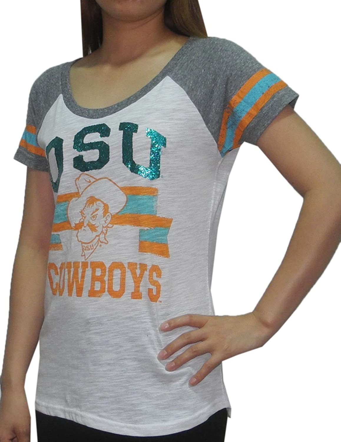 NCAA Womens Oklahoma State Cowboys  Athletic CrewNeck Glitter TShirt