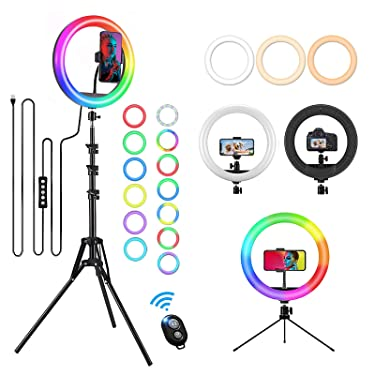 """12"""" Selfie Ring Light with 59"""" Extendable Tripod Stand & Phone Holder for Live Stream Makeup, Upgraded Dimmable LED Desktop Circle Lamp 20 RGB Modes 13 Brightness, Wireless Remote for iPhone Android"""