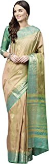 AKHILAM Women's Silk Blend Saree with Unstitched Blouse Piece (Beige_Free Size)