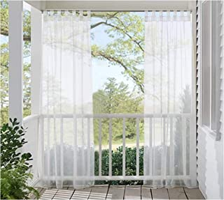 Choies White Outdoor Patio Sheer Curtains Tab Top Waterproof Indoor Outdoor Curtains Extra Wide/Drapes/Blinds for Patio Pr...