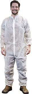 AMZ Laminated Non-Woven Fabric Coverall. White Adult Coverall Medium High Filtration Fabric Apparel Zipper Front Entry, Elastic Wrists, Elastic Ankles, Elastic Lower Back Excellent Splash Protection