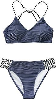 Women's Bamboo Leaves Print Bikini Crisscross Padded Swimsuit