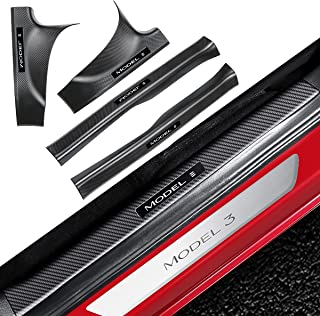 BMZX Tesla Model 3 Door Sill Protector Carbon Fiber Door Sill Scuff Plate Guard (Set of 4) Included Front Rear Door Sill