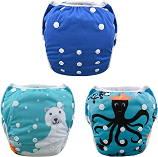 ALVABABY Swim Diapers 3pcs One Size Reuseable Washable & Adjustable for Swimming Lesson & Baby Shower Gifts 3SWB01