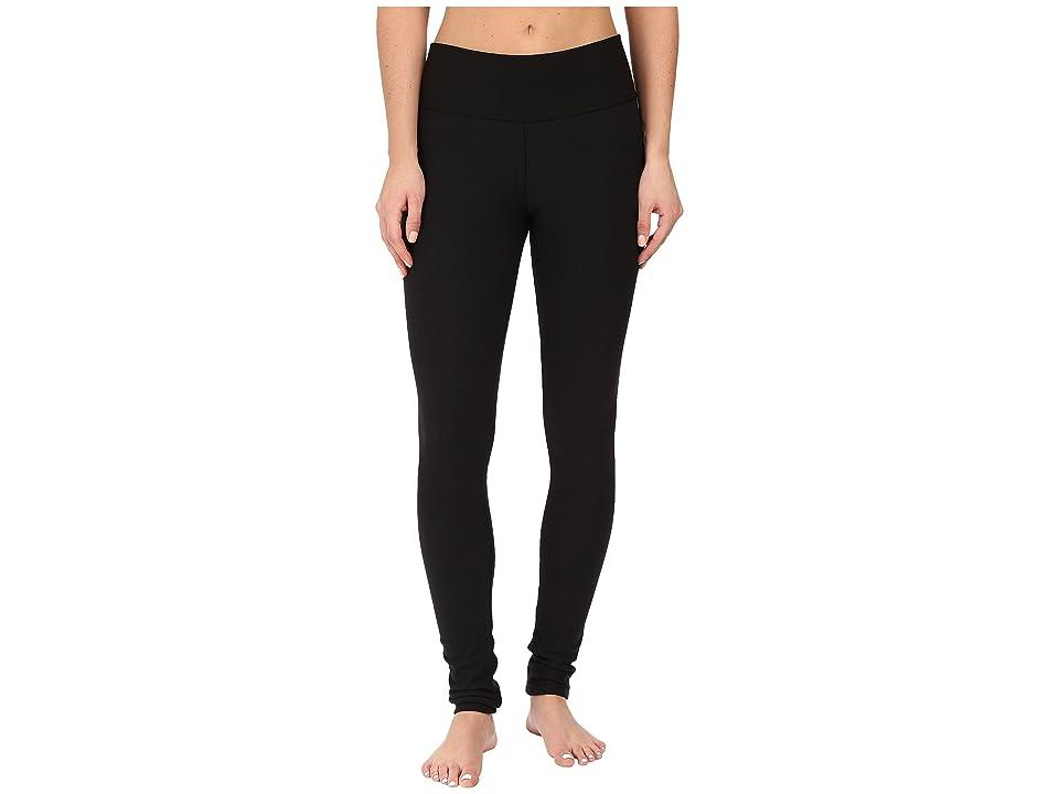 Plush Fleece-Lined Cotton Yoga Leggings with Hidden Pocket (Black) Women