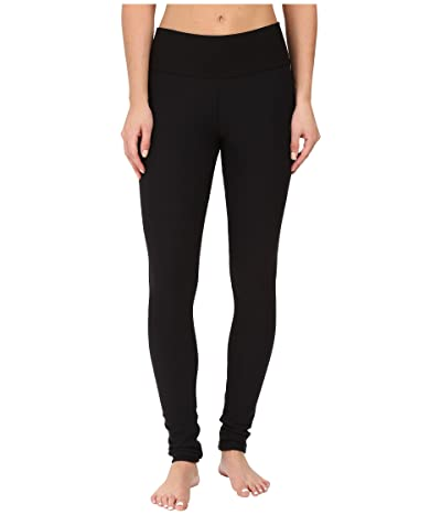 Plush Fleece-Lined Cotton Yoga Leggings with Hidden Pocket (Black) Women