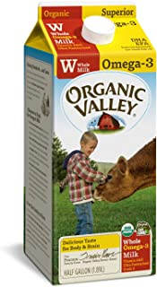 Organic Valley, Organic Omega-3 Whole Milk, Ultra Pasteurized, Half Gallon, 64 Ounces